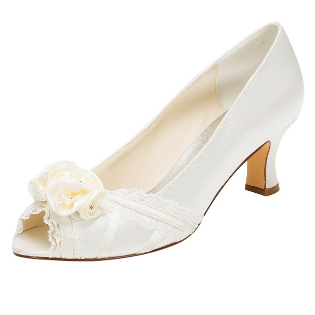 Peep Toe Wedding Shoes Spool Heel Satin Wedding Shoes With Flowers Lace Rhinestone
