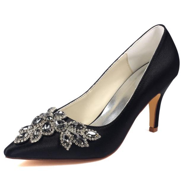 Close Toe Pumps Wedding Shoes Stiletto Heel Satin Wedding Shoes With Crystal Rhinestone