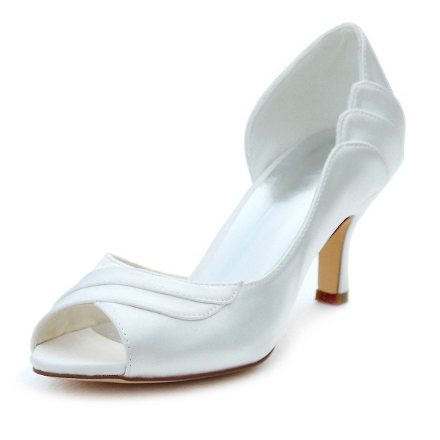 Peep Toe Pumps Wedding Shoes Stiletto Heel Satin Wedding Shoes