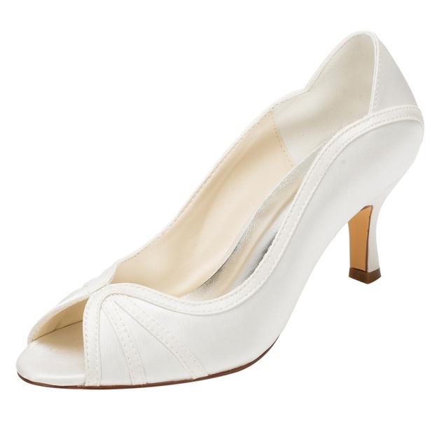 Peep Toe Pumps Wedding Shoes Spool Heel Satin Wedding Shoes