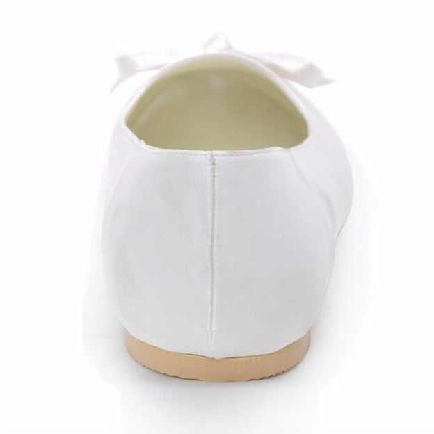 Close Toe Flats Round Toe Flat Heel Satin Wedding Shoes With Bowknot