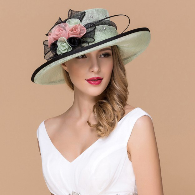 Ladies' Vintage/Romantic Cambric Tea Party Hats/Kentucky Derby Hats/Bowler/Cloche Hats With Flower