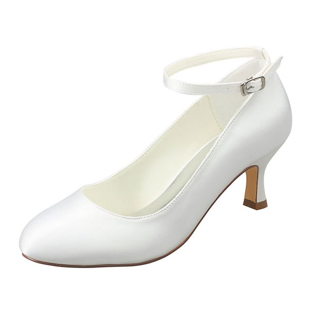 Close Toe Wedding Shoes Round Toe Spool Heel Satin Wedding Shoes With Buckle