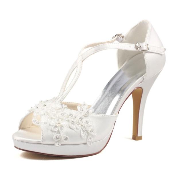 Peep Toe Platform Pumps Stiletto Heel Satin Wedding Shoes With Appliqued Buckle Sequins