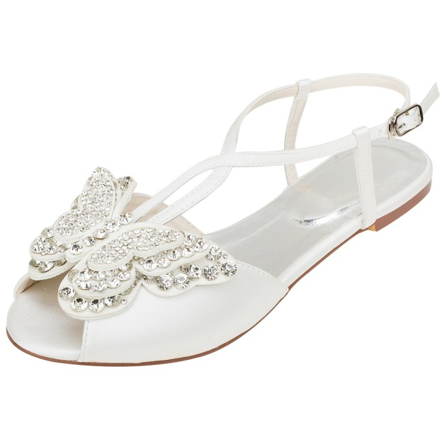 Flats Sandals Wedding Shoes Flat Heel Satin Fashion Shoes With Buckle Rhinestone