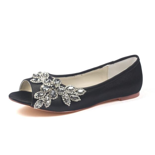 Flats Peep Toe Flat Heel Satin Wedding Shoes With Crystal Rhinestone