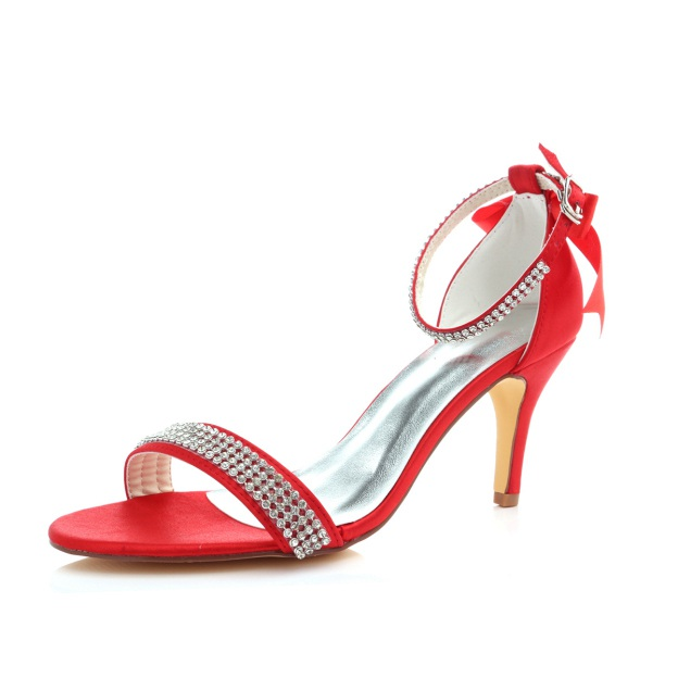 Pumps Sandals Wedding Shoes Stiletto Heel Satin Fashion Shoes With Buckle Rhinestone Ribbon Tie