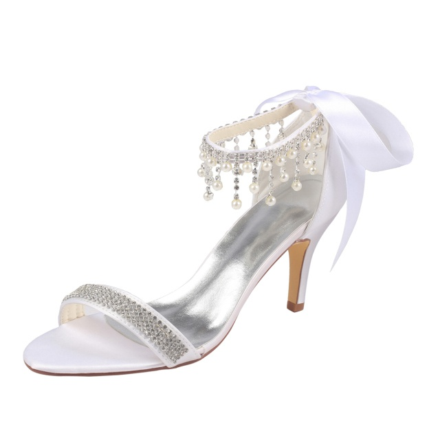 Pumps Sandals Wedding Shoes Stiletto Heel Satin Wedding Shoes With Imitation Pearl Rhinestone Ribbon Tie