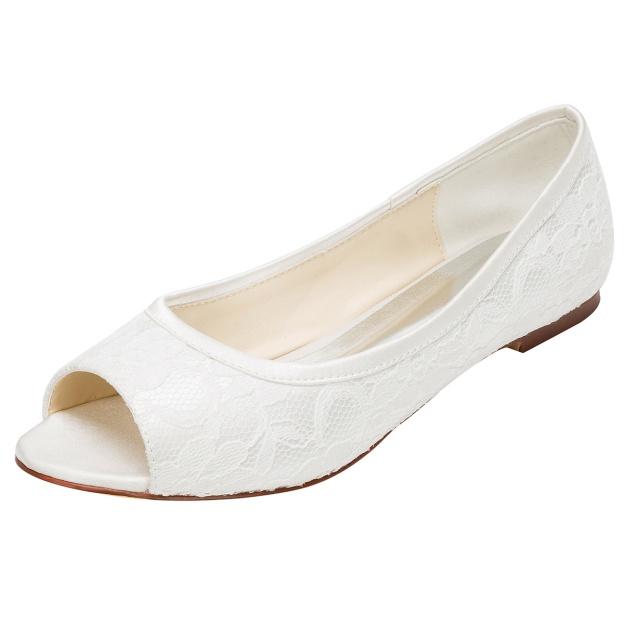 Flats Peep Toe Wedding Shoes Flat Heel Lace Wedding Shoes