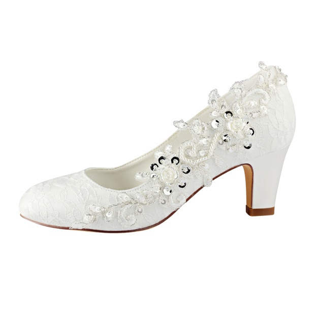 Close Toe Wedding Shoes Round Toe Cone Heel Lace Wedding Shoes With Appliqued Beaded Sequins