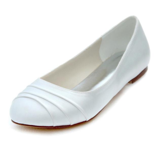Close Toe Wedding Shoes Round Toe Flat Heel Satin Wedding Shoes