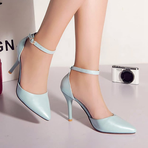 Close Toe Stiletto Heel Pu Shoes With Buckle