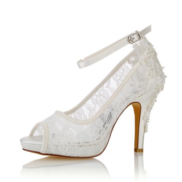 Peep Toe Platform Pumps Stiletto Heel Lace Wedding Shoes With Appliqued Buckle Imitation Pearl