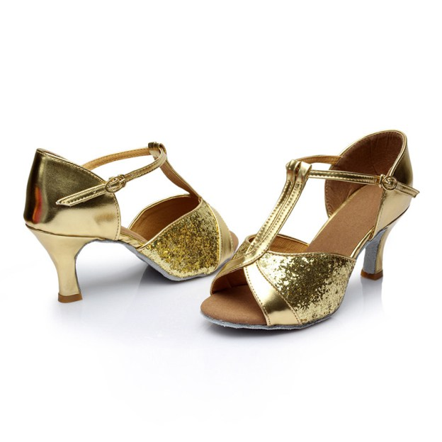Peep Toe Dance Shoes Kitten Heel Sparkling Glitter Shoes With Buckle