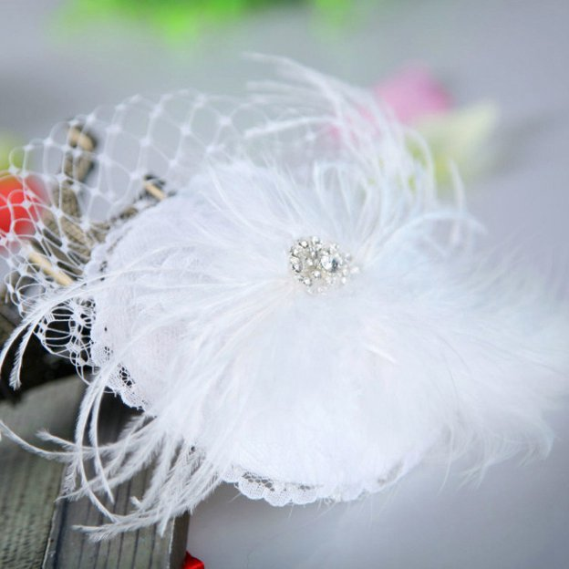 Net Yarn Ladies Flowers & Feathers With Rhinestone Feather