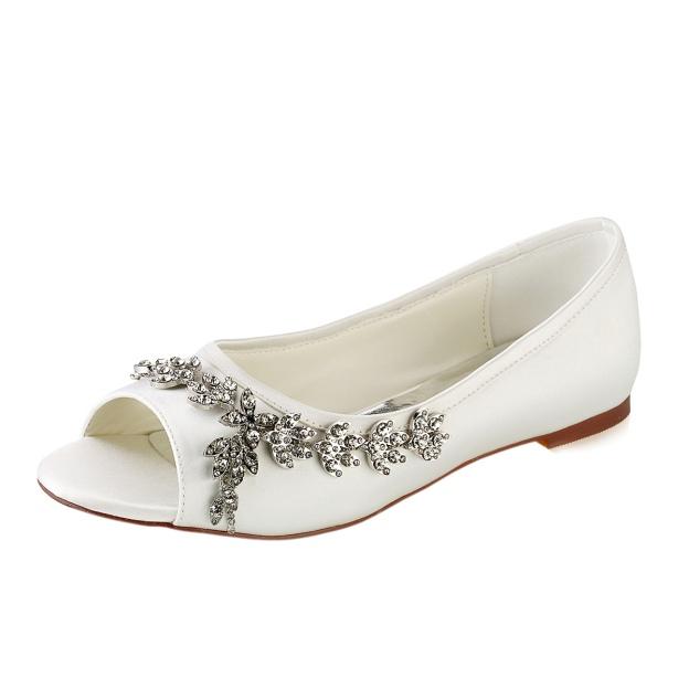 Flats Peep Toe Wedding Shoes Flat Heel Satin Wedding Shoes With Rhinestone