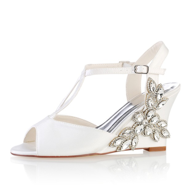 Peep Toe Slingbacks Wedges Wedge Heel Satin Wedding Shoes With Buckle Crystal Rhinestone
