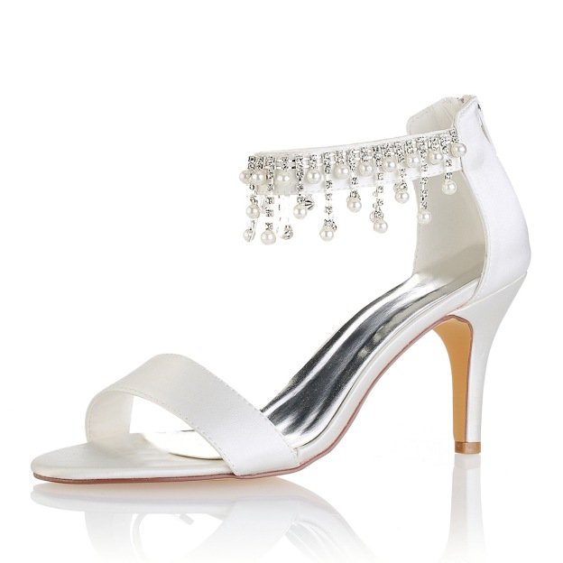 Peep Toe Pumps Sandals Stiletto Heel Satin Wedding Shoes With Imitation Pearl Rhinestone