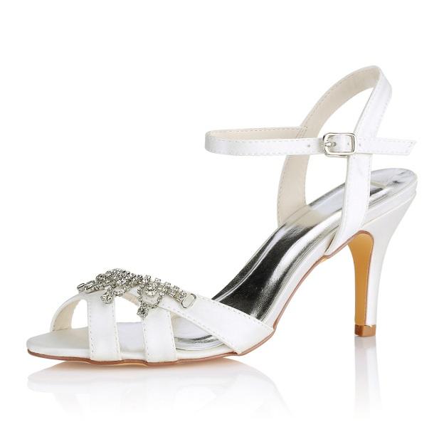 eebe14749467 Peep Toe Sandals SlingBacks Stiletto Heel Satin Wedding Shoes With Buckle  Rhinestone