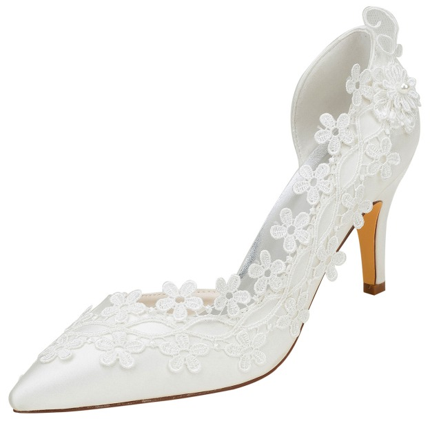 Close Toe Pumps Wedding Shoes Stiletto Heel Satin Wedding Shoes With Appliqued Lace