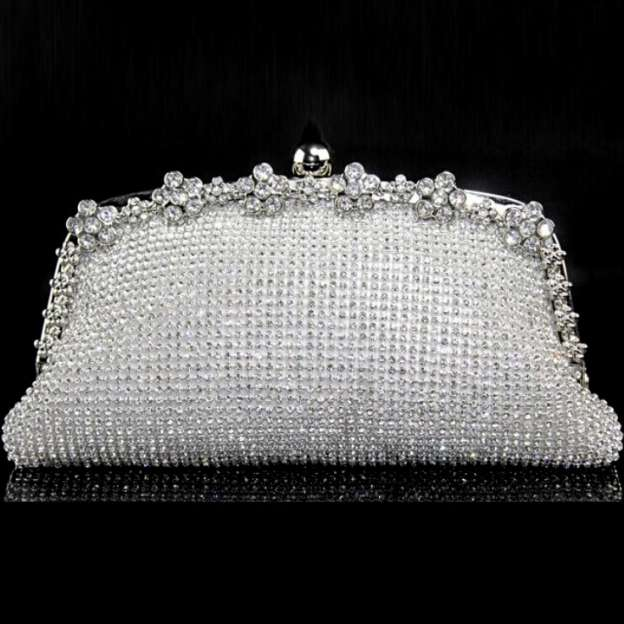 Plated Brass Mesh Chain Clutches With Crystal/Rhinestone