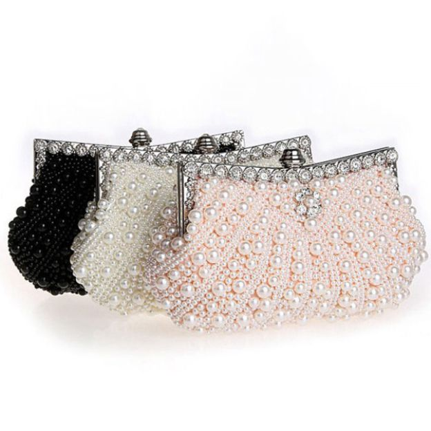 Pearl Chain Clutches With Crystal/Rhinestone Imitation Pearl