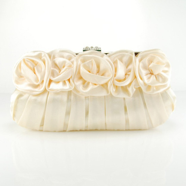 Silk Chain Clutches With Flower Pleated