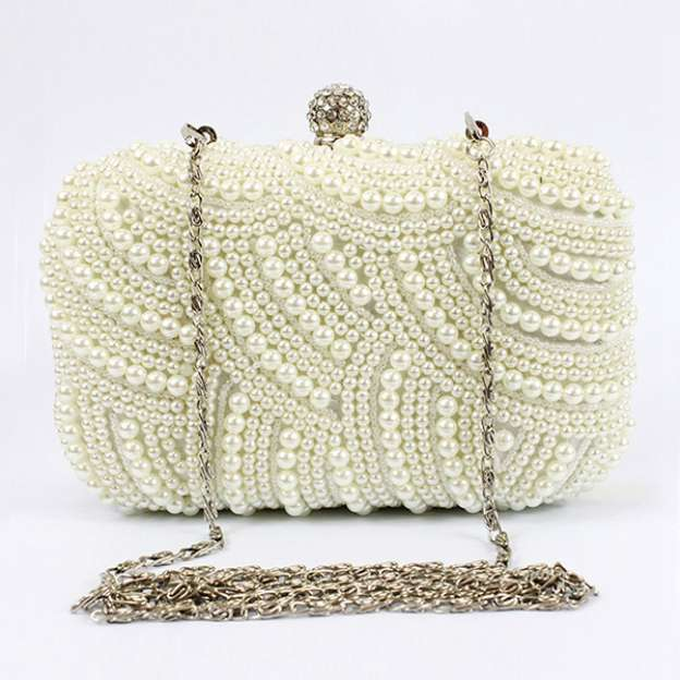 Pearl Chain Clutches With Crystal/Rhinestone