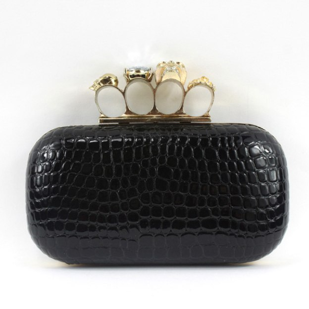 Patent Leather Chain Clutches With Crystal/Rhinestone Metal