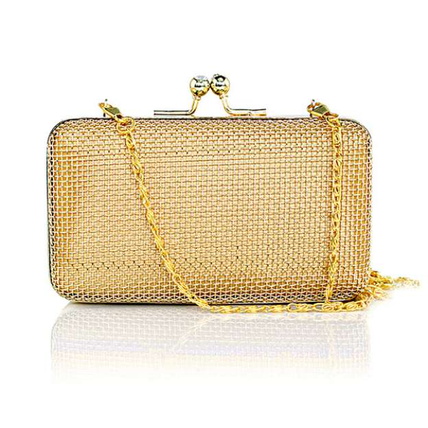 Metal Chain Bridal Purse With Plated Bubble Mesh