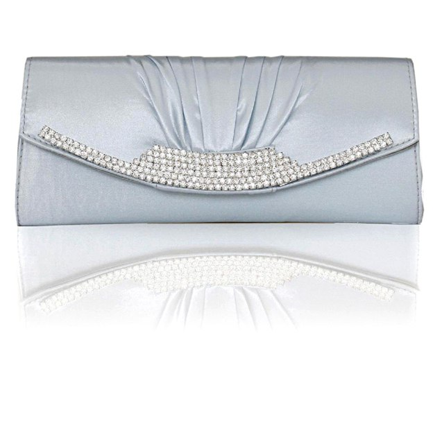 Silk Chain Clutches With Crystal Rhinestone