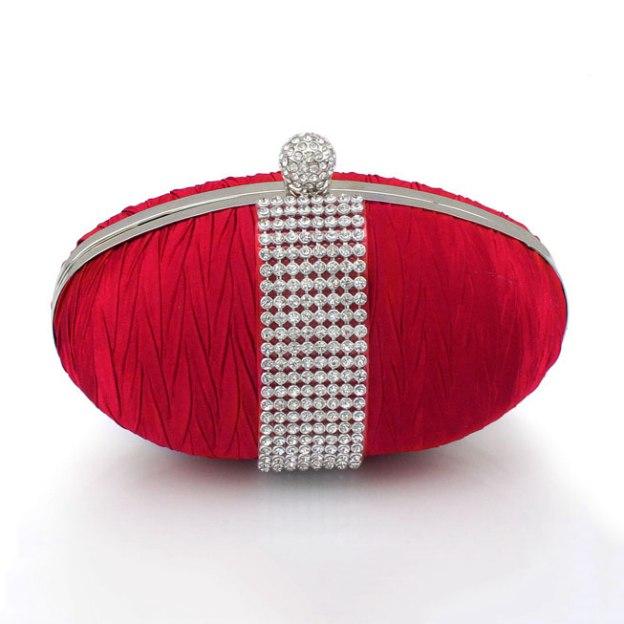 Silk Chain Clutches With Crystal Rhinestone