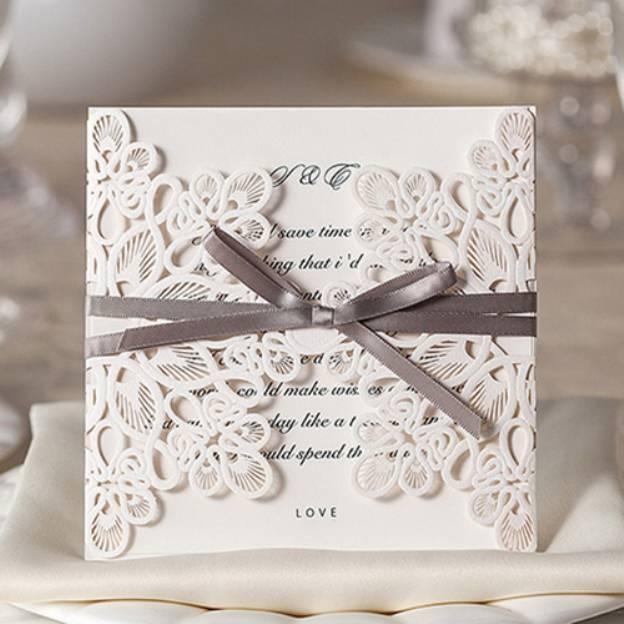 White Art Paper Invitation Cards 30 Piece/Set