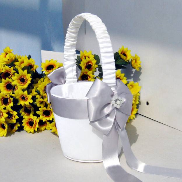 Satin White Flower Baskets With Bowknot
