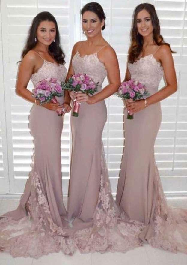 Trumpet/Mermaid Scalloped Neck Sleeveless Court Train Elastic Satin Bridesmaid Dresses With Lace