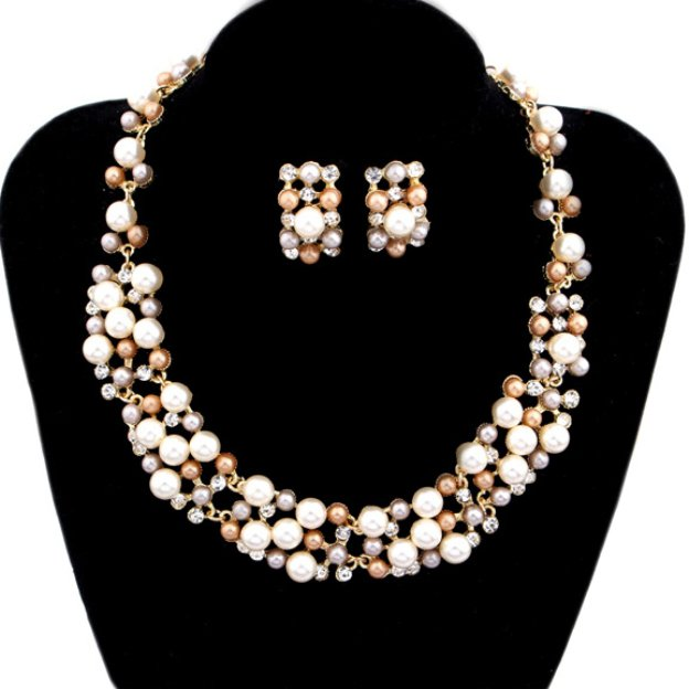 Alloy Irregular Pierced Jewelry Sets With Imitation Pearls