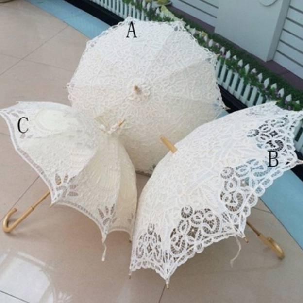 Cotton Women'S Hook Handle Wedding Umbrellas