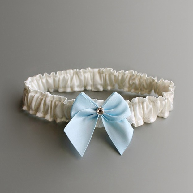 Satin Special Occasion Wedding Garters With Bowknot Rhinestone