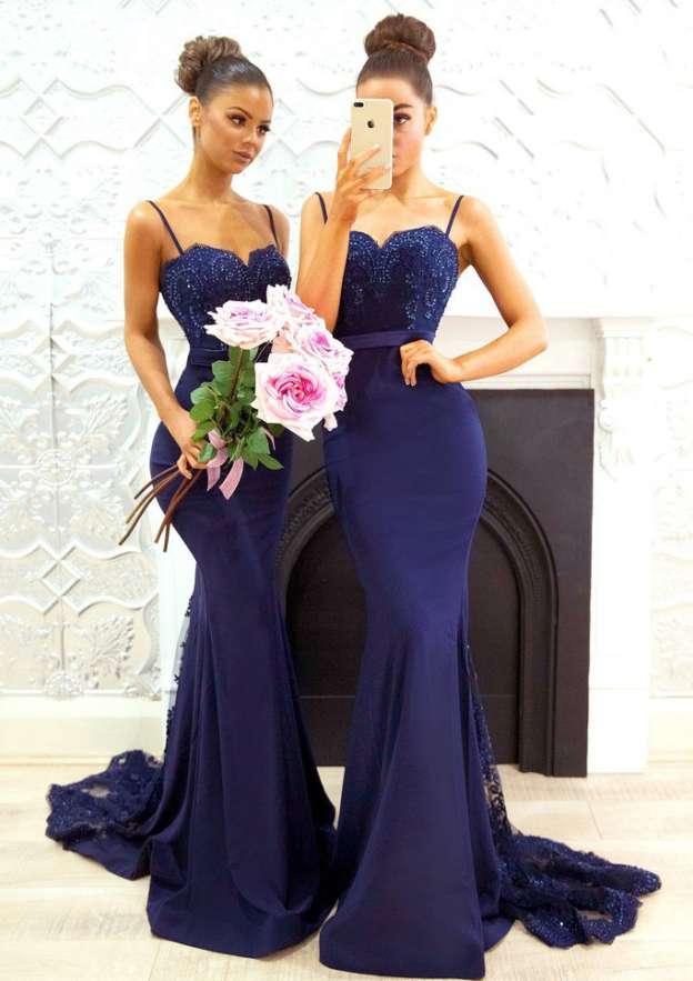 Trumpet/Mermaid Sweetheart Sleeveless Court Train Elastic Satin Bridesmaid Dresses With Appliqued