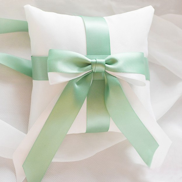 Wedding As Picture Satin Ring Pillows With Bowknot Ribbons