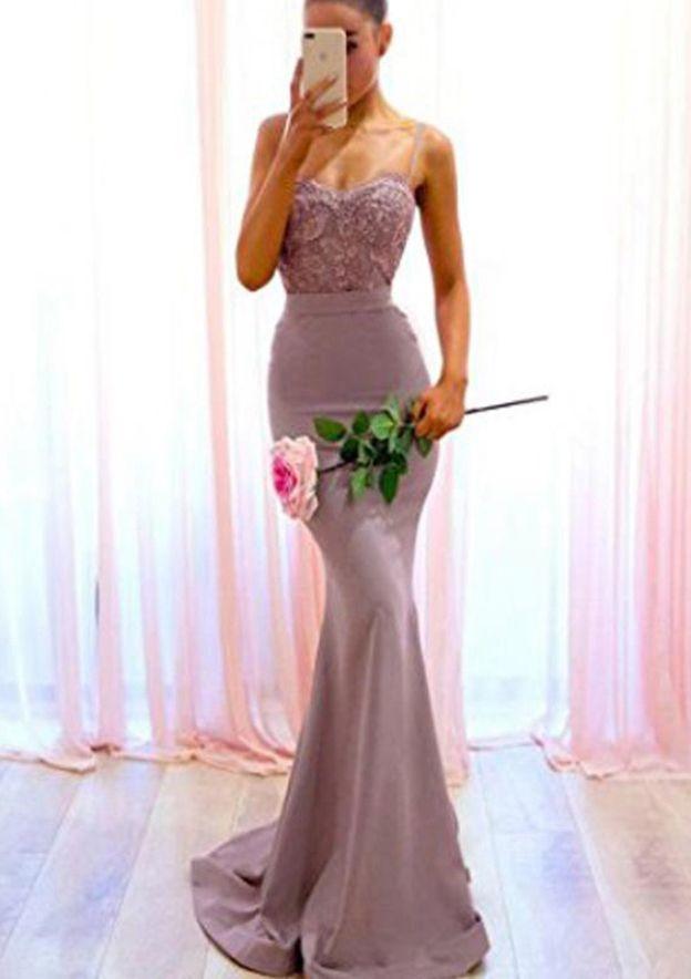 Trumpet/Mermaid Sweetheart Sleeveless Sweep Train Elastic Satin Bridesmaid Dress With Lace