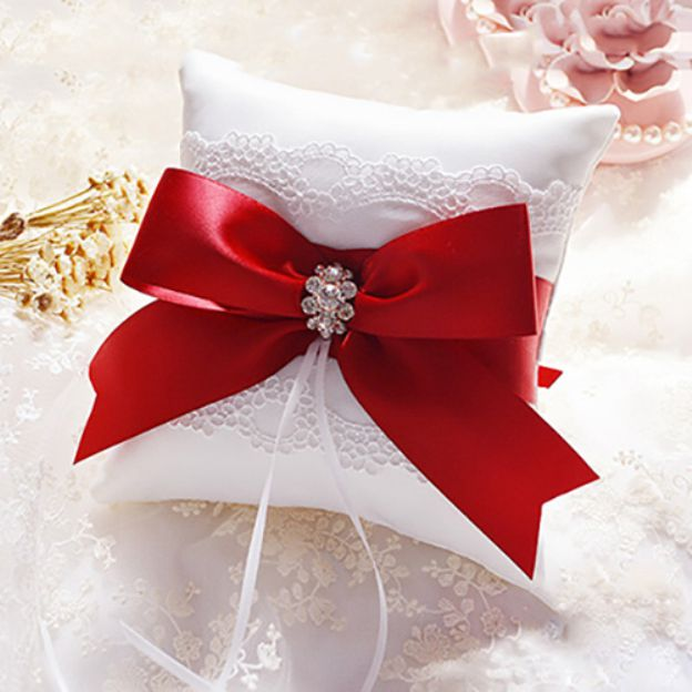 Wedding As Picture Lace Ring Pillows With Rhinestone Bowknot Ribbons