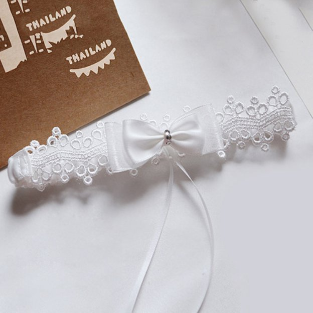 Satin Special Occasion Wedding Garter With Lace Bowknot Rhinestone