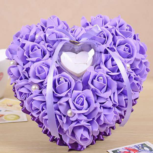 Wedding Purple Soap Flower Ring Pillows With Imitation Pearl