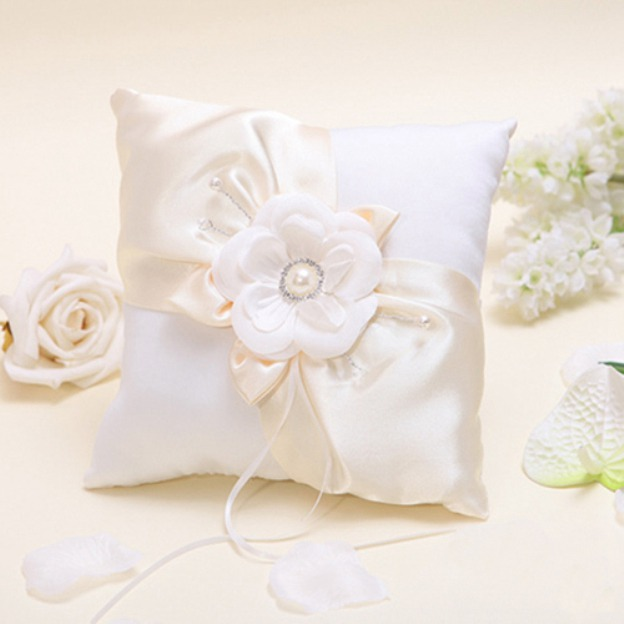 Wedding As Picture Satin Ring Pillows With Rhinestone Flower Imitation Pearl Ribbons