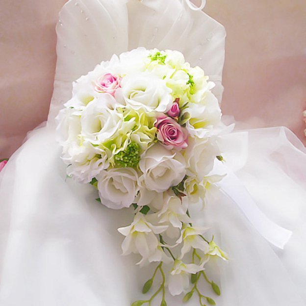 Water Drop Fabric Peonies Bouquets