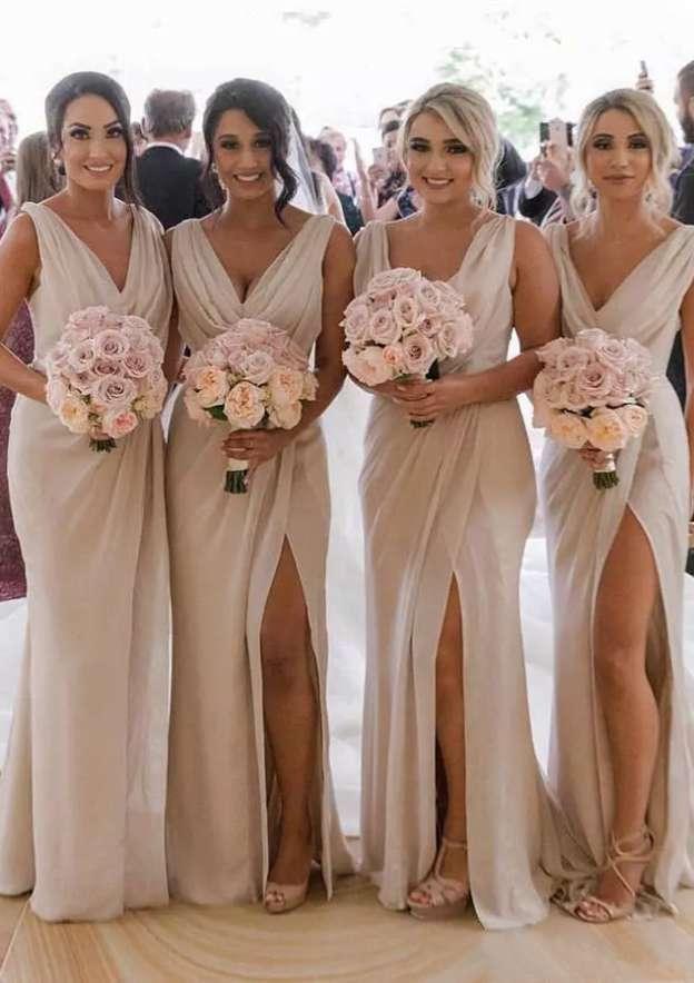 Sheath/Column V Neck Sleeveless Long/Floor-Length Chiffon Bridesmaid Dresses With Pleated Split