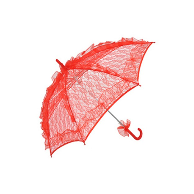 Plastic Lace Women'S Hook Handle Wedding Umbrellas