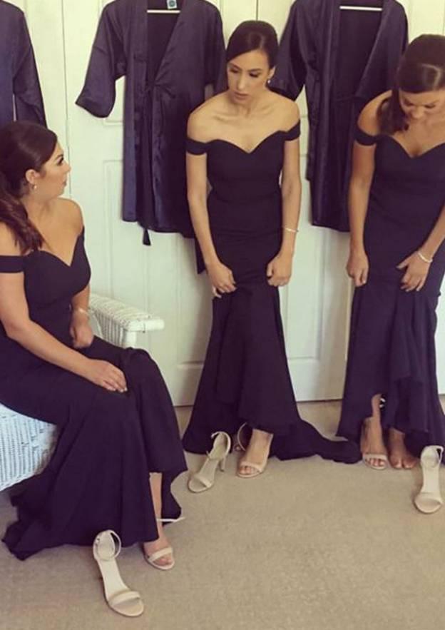 Sheath/Column Off-The-Shoulder Sleeveless Sweep Train Elastic Satin Bridesmaid Dresses With Pleated