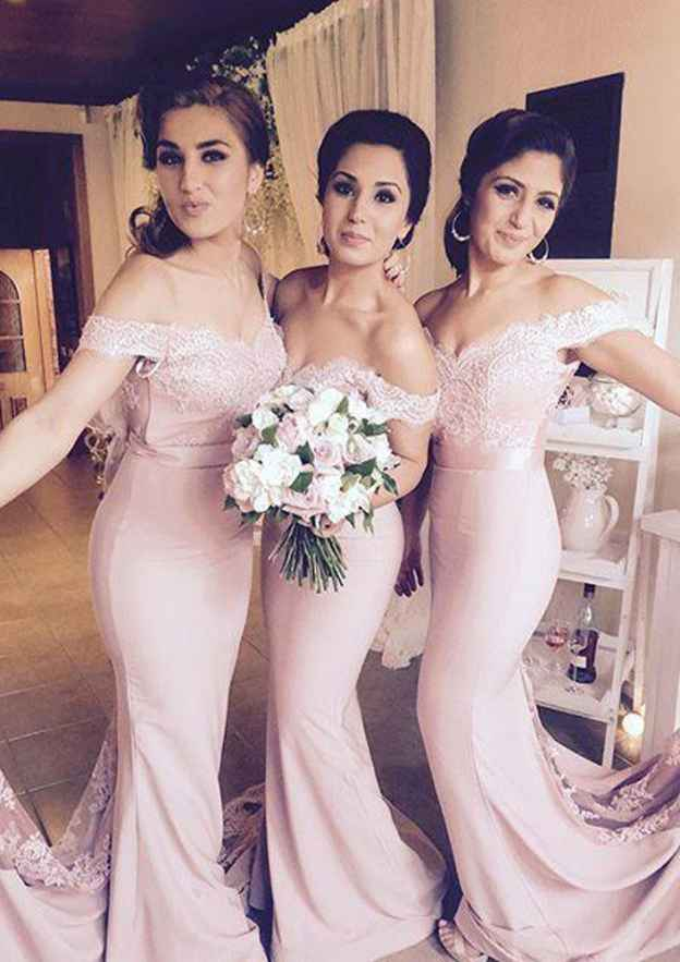 Trumpet/Mermaid Off-The-Shoulder Sleeveless Court Train Elastic Satin Bridesmaid Dresses With Waistband Lace